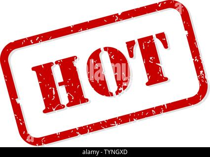 Hot red rubber stamp vector isolated - Stock Image
