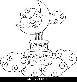 baby sleeping on the moon with cake and candles over clouds vector illustration graphic design - Stock Image