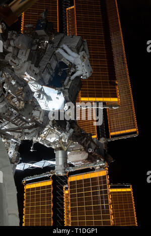 Expedition 59 NASA astronauts Nick Hague, top, and Anne McClain, bottom, retrieve batteries and adapter plates from an external pallet during a spacewalk outside the International Space Station March 22, 2019 in Earth Orbit. Astronauts McClain and Hague spent six-hours and 39-minutes outside the space station to upgrade the orbital complex's power storage capacity. - Stock Image