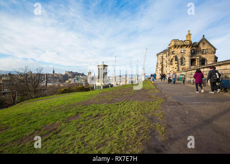 EDINBURGH, SCOTLAND - FEBRUARY 9, 2019 - Calton Hill is at the bottom of New Town. On the hilltop are several monuments - Stock Image