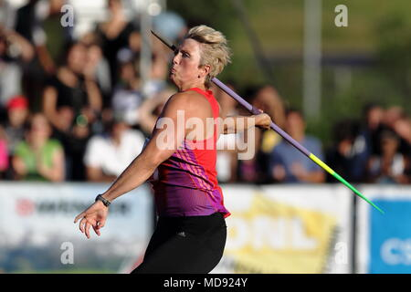Lucerne, Switzerland. 17th, Jul 2012.  Christina Obergfoll of Germany in action during the Women's Javelin Throw event of the Meeting athletics compet - Stock Image