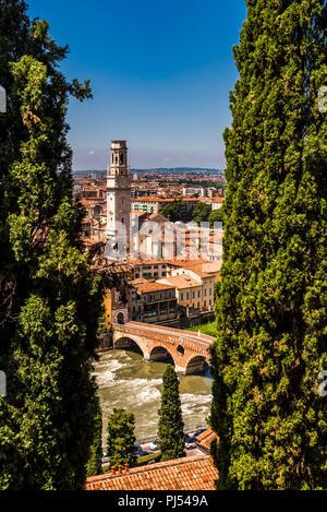 Ponte Pietra and Duomo from Castel San Pietro in Verona, Italy - Stock Image