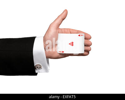 A magicians hand palming the Ace of hearts - Stock Image