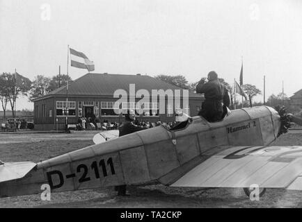 A Klemm L25 with the tail number D-2111 and the name 'Hummel II' on the airfield Berlin-Staaken. - Stock Image