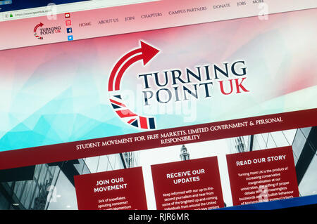 The website of Turning Point UK a  British right-wing youth campagin group. - Stock Image