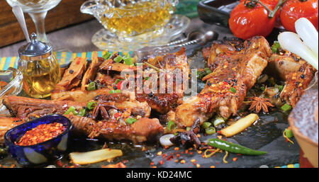 Close up view of delicious braised sticky king pork ribs - Stock Image