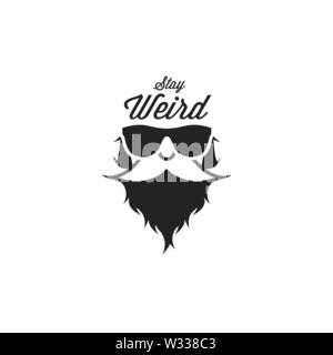 Bearded Hipster, Man in Sunglasses. Black and White Vector Illustration. Stay Weird Slogan. T-shirt Print. - Stock Image