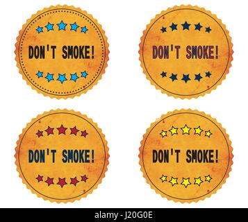 DON'T SMOKE_1 text, on round wavy border vintage stamp badge, in color set. - Stock Image
