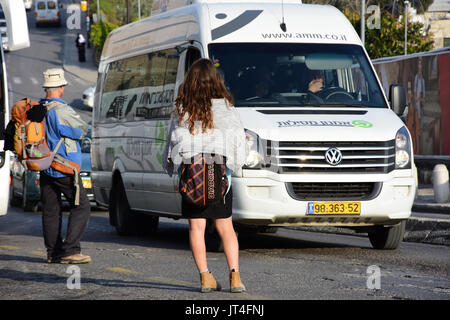 van in traffic - Stock Image
