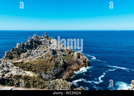 Scenic view of The Pointe du Raz. It is a promontory that extends into the Atlantic from western Brittany, in France. - Stock Image