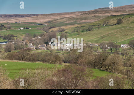 North Pennines Landscape, the rural hamlet of Newbiggin, Teesdale, UK, in spring sunshine - Stock Image