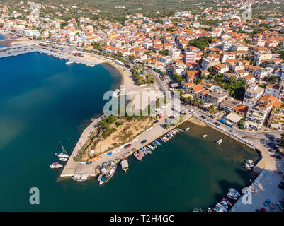 The second most important harbour in Thasos, the Limenaria port as seen from above - Stock Image