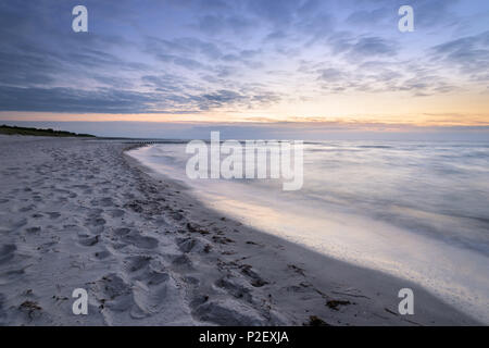 Summer, Beach, Dam, Sunset, Baltic Sea, Mecklenburg, Germany, Europe - Stock Image