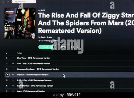 David Bowie album Ziggy Stardust spotify page - Stock Image