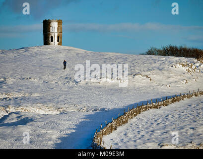 Buxton, Derbyshire, UK. 19th January, 2018.  UK Weather: Solomon's Temple Buxton Derbyshire, dog walkers in - Stock Image