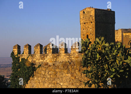 castle at dusk in Trujillo, Extremadura region, Spain - Stock Image