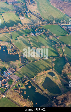 Vertical aerial view across the Surrey countryside. - Stock Image