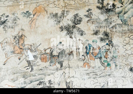 Mural telling the story of Journey to the West, Xuanzang and his followers, Dafo (Great Buddha) Temple, Zhangye, Gansu Province, China - Stock Image