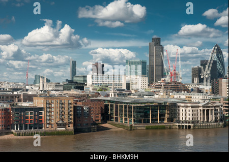 city of london skyline from southbank of river thames - Stock Image