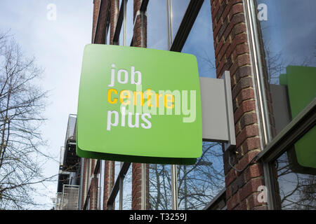 Exterior signage outside a JobCentre Plus office in London, UK - Stock Image