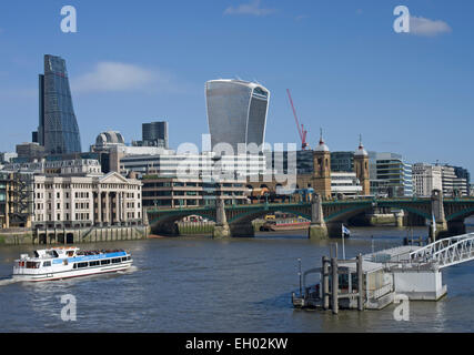 London City skyline with The Walkie Talkie, Cannon Street Station and The Cheese Grater to the left - Stock Image