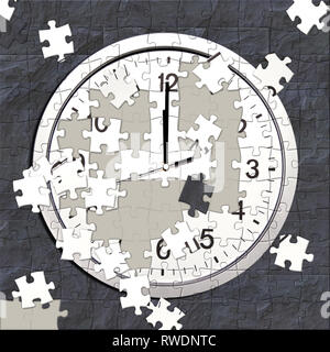 jigsaw puzzle of a clock in progress - Stock Image
