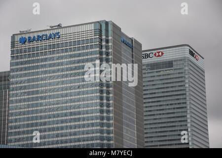 Barclays Bank Head Office Canary Wharf London United Kingdom - Stock Image