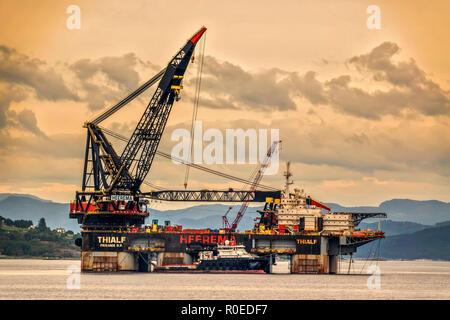 Largest Crane Vessel In The Harbour,  Stavanger  Norway - Stock Image