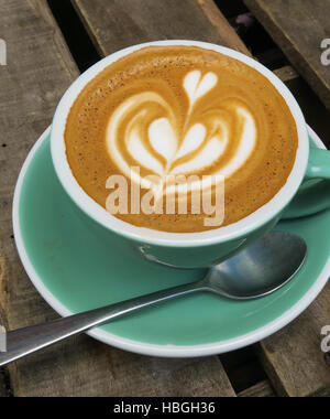 A Flat White cup of coffee. - Stock Image