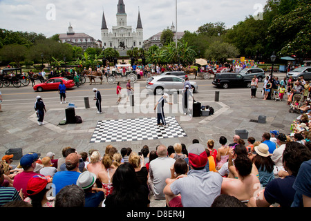 Street performing artists in New Orleans breakdancing - Stock Image