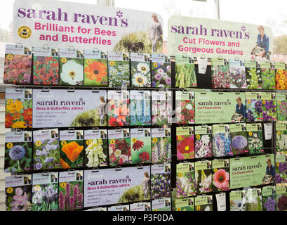 Display of Sarah Raven's flower seed packages on sale, The Walled garden plant nursery, Benhall, Suffolk, England, UK - Stock Image