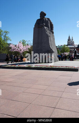 Russia, Moscow, the Karl Marx monument in the garden of the Bolshoi theatre - Stock Image