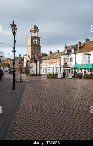 The clock tower in Market Square, Chesham, Bucks, England, UK - Stock Image