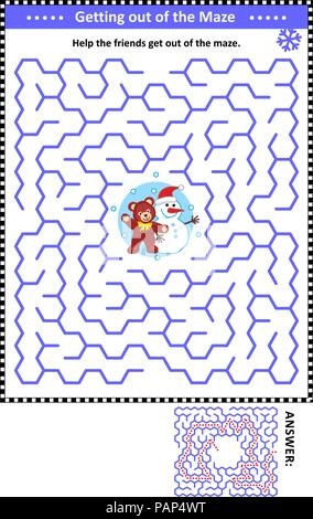 Maze game: Help the teddy bear and snowman get out of the maze. Answers included. - Stock Image