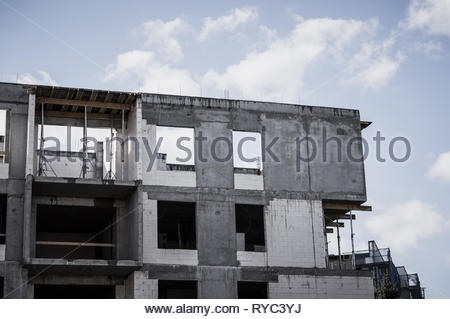 Poznan, Poland - March 9, 2019: New apartment building under construction on the Stare Zegrze district. - Stock Image