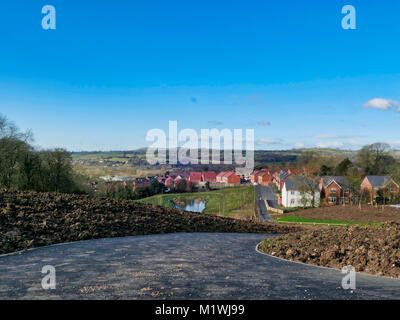 Ashbourne, Derbyshire. 2nd Feb, 2018. UK Weather: unusually warm & sunny Febrary day on a new housing development - Stock Image