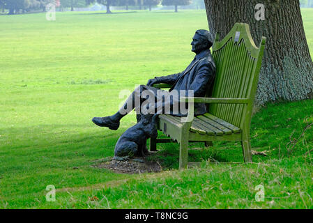 edward 7th earl of leicester bronze sculpture, holkham hall, north norfolk, england - Stock Image