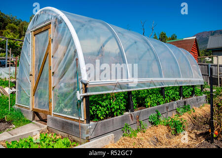 An agricultural hot house hoop tunnel with adjustable roll up side flaps to allow air flow for ventilation. - Stock Image