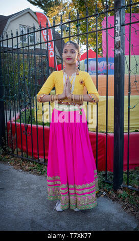 Posed portrait of a beautiful Hindu teenager at the Diwali Parade in South Richmond Hill, Queens, New York. - Stock Image