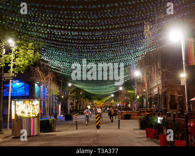 St. Catherine street in Montreal's Gay Village at night - Stock Image