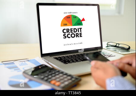 CREDIT SCORE (Businessman Checking Credit Score Online and Financial payment Rating Budget Money) - Stock Image