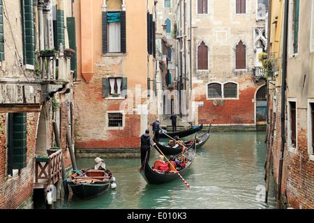 Venice, Italy. Gondolas on canals. - Stock Image