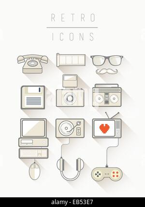 Retro icons vector in simple cool style - Stock Image