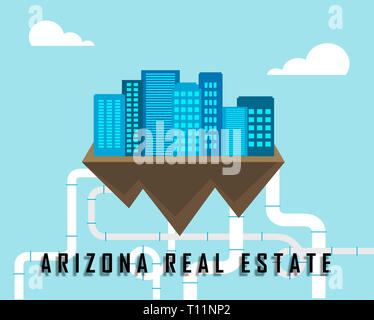 Arizona Real Estate City Represents Purchasing Or Buying Through A Broker In Az Usa 3d Illustration - Stock Image