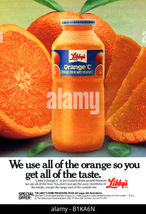1980 advertisement for Libby's Orange C fruit drink with vitamin C FOR EDITORIAL USE ONLY - Stock Image