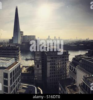 London skyline from The Monument looking over the Thames to the Shard - Stock Image