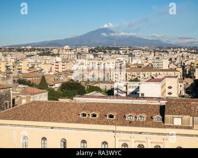 Catania skyline looking towards Mount Etna, a active volcano, Island of Sicily, Italy - Stock Image