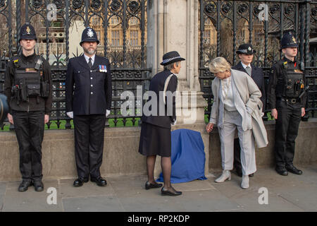 London, UK. 20th Feb, 2019.  A public memorial outside the gates of Parliament for PC Keith Palmer has been unveiled. The Police commissioner Cressida Dick attended. Credit: Peter Manning/Alamy Live News Credit: Peter Manning/Alamy Live News - Stock Image