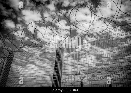 The razor wire fence round the main prison complex on Robben Island, Cape Town, South Africa where Nelson Mandela - Stock Image