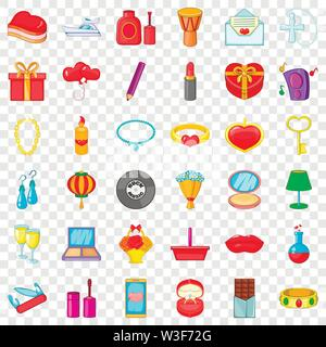 Birthday icons set, cartoon style - Stock Image